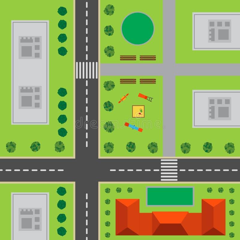 Plan av staden övre sikt för stad stock illustrationer