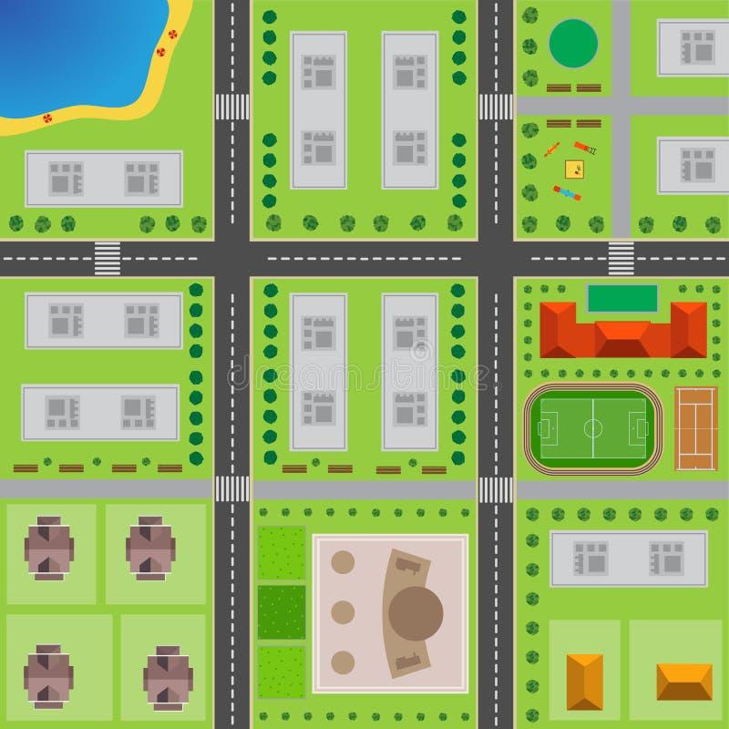 Plan av staden övre sikt för stad vektor illustrationer
