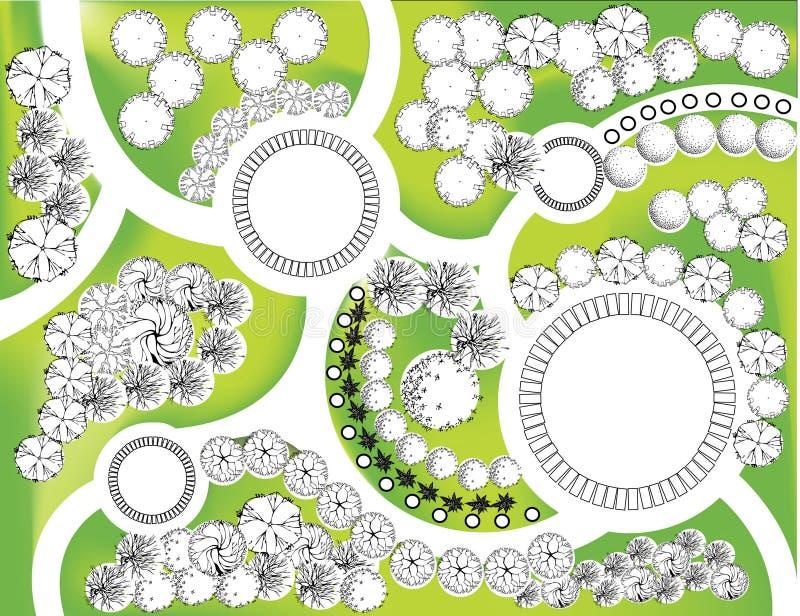 Plan av trädgården royaltyfri illustrationer