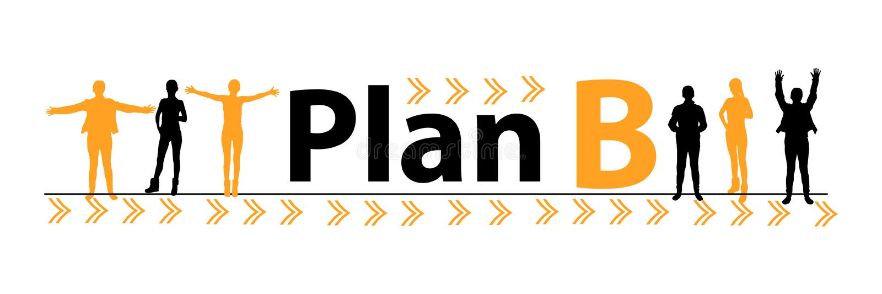 Plan B begrepp för nöd- plan folk stock illustrationer