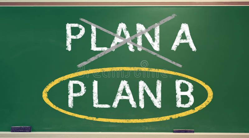 Plan B on a chalk board royalty free illustration