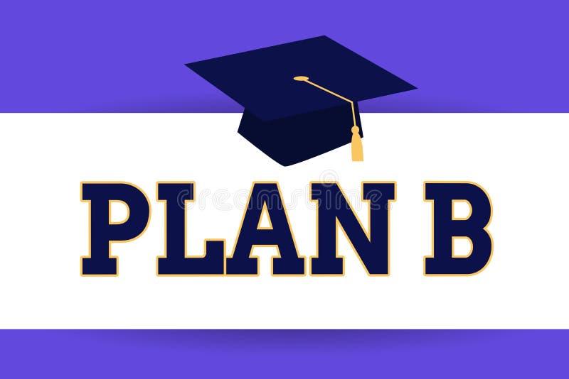 Plan B för textteckenvisning Det begreppsmässiga fotoet en det reserv- planet eller strategi specificerade förslaget för att göra stock illustrationer