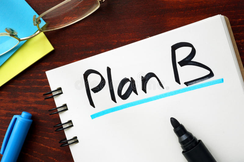 Plan B. Sign written in a notepad stock photo