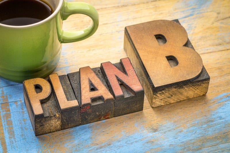 Plan B - woordsamenvatting in houten type royalty-vrije stock foto's