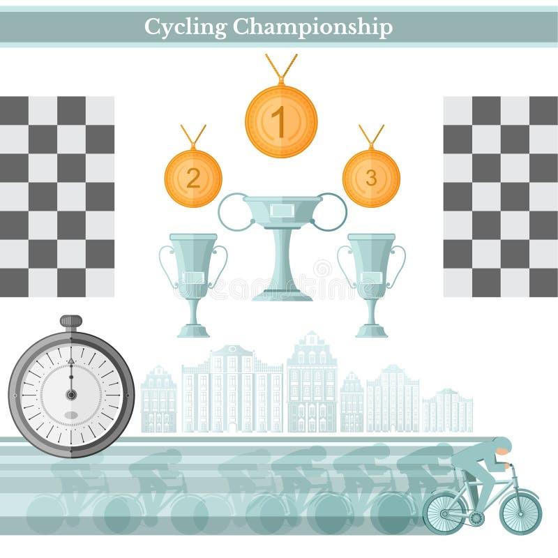 Plan bakgrund Cyklist i cykelloppet med koppar stock illustrationer