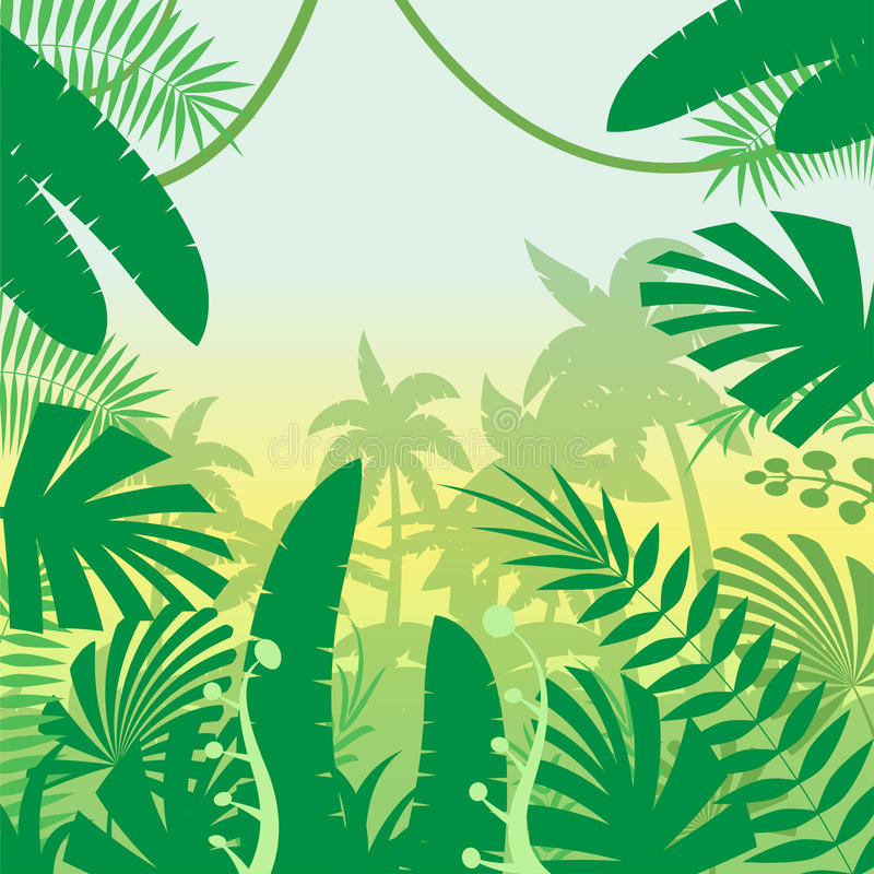 Plan bakgrund för djungel stock illustrationer