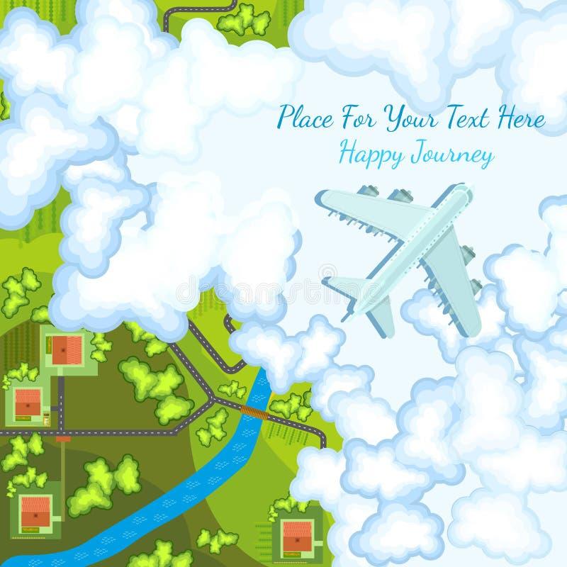 Plan bakgrund med plan bästa sikt ovanför bygdlandskap royaltyfri illustrationer