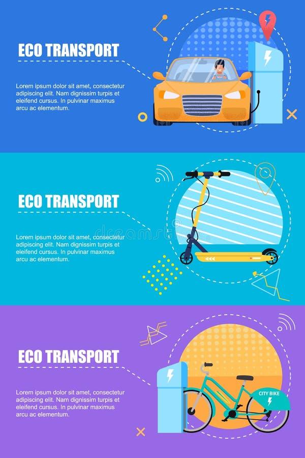 Plan banerEco transport på en färgbakgrund vektor illustrationer
