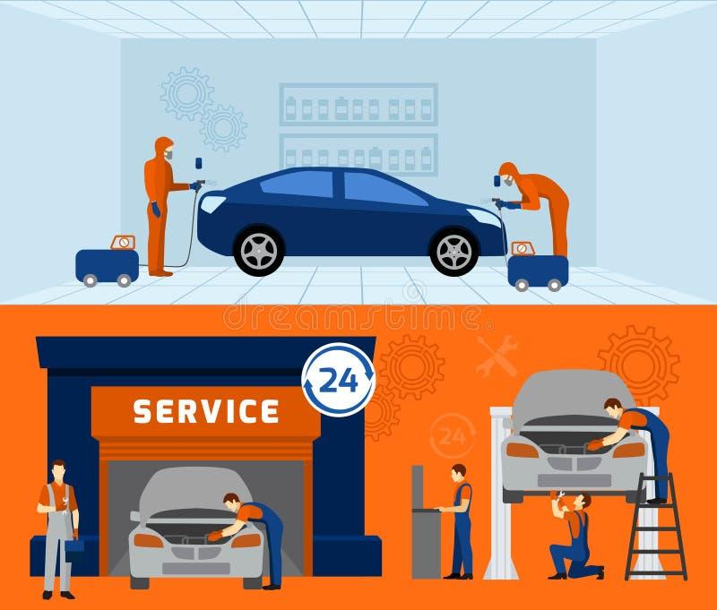 Plan baneruppsättning för auto mekaniker 2 stock illustrationer
