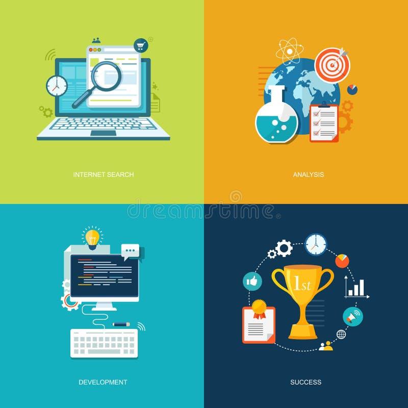 Plan baneruppsättning Internetsökande, analys, utveckling, succes vektor illustrationer