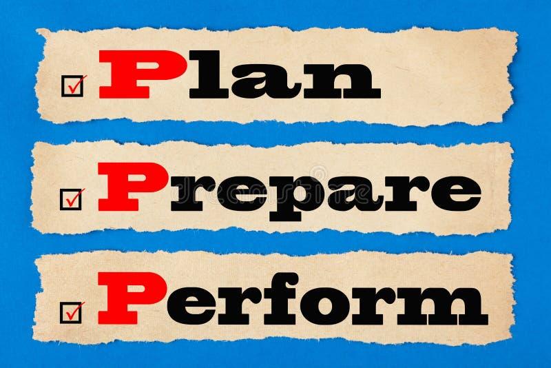Plan bereiten sich durchführen Konzept vor stockfotos