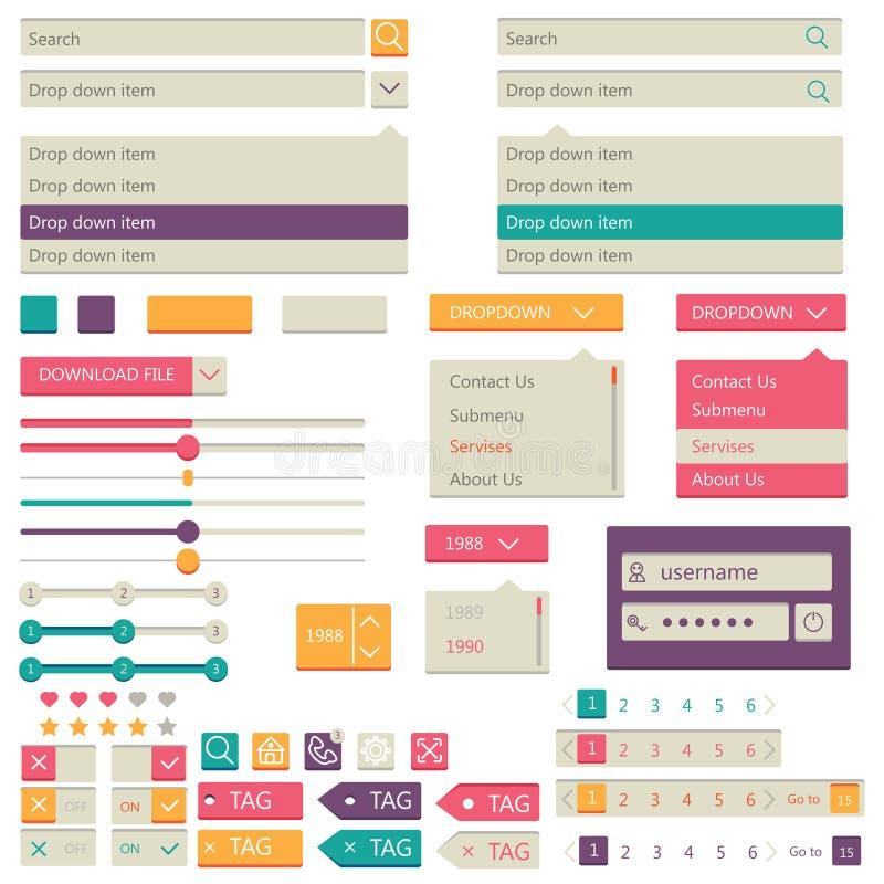 Plan beståndsdeldesign, uiuppsättning vektor royaltyfri illustrationer