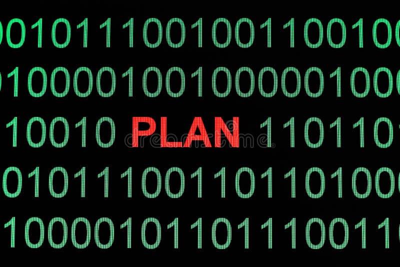 Plan on binary data. Close up of Plan on binary data stock photos