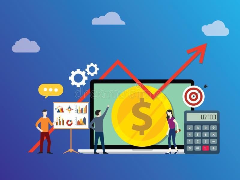 Plan biznesowy inwestycja z drużynowym działaniem wpólnie zaludnia z pieniądze i dorośnięcie wzrostowej mapy strzałą - wektor ilustracja wektor