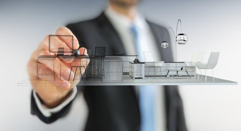 Plan blanco de dibujo del apartamento de la representación 3D de Businessmank stock de ilustración
