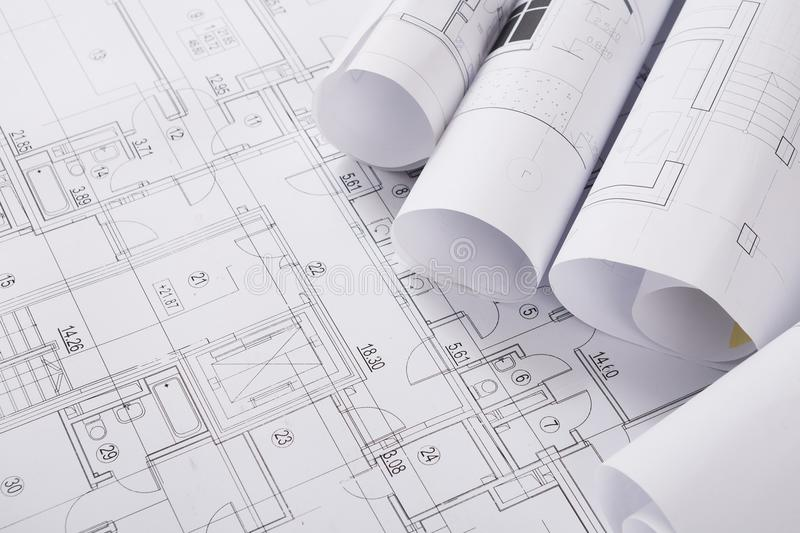 Plan of building. Architectural project background stock photos
