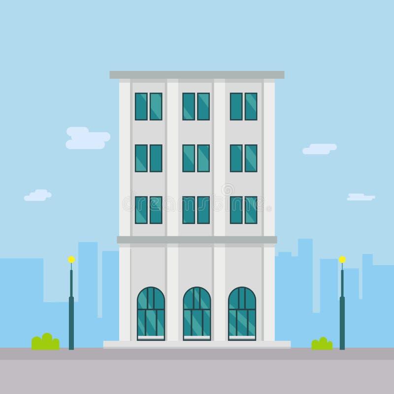 Plan byggande design i stad Företagsbyggnad i plan stil med stadsbakgrund ocks? vektor f?r coreldrawillustration stock illustrationer