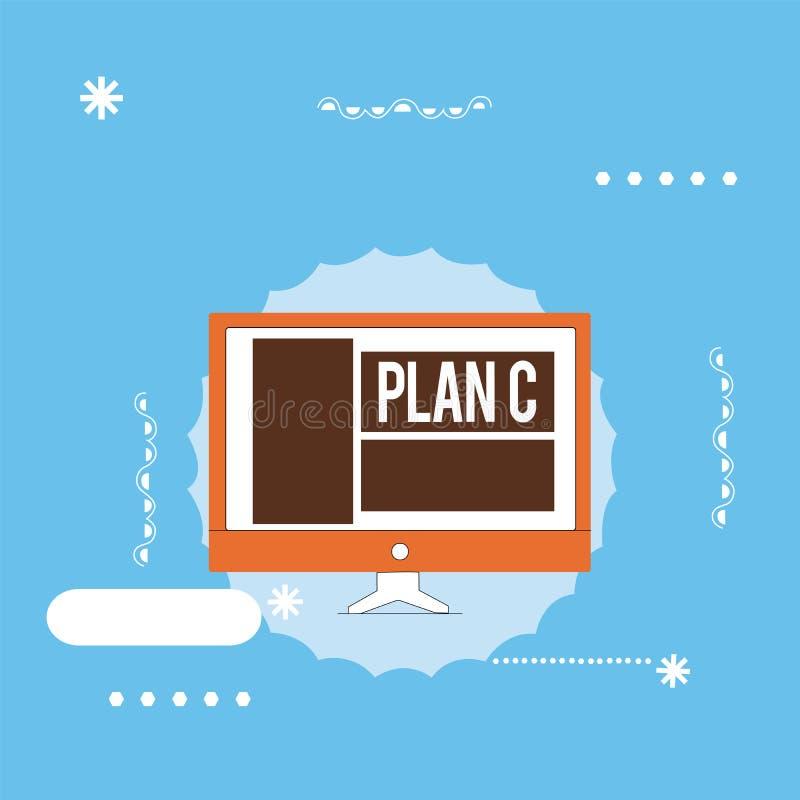 Plan C för handskrifttexthandstil Begreppsbetydelsen en är det reserv- strategi specificerade förslaget för att göra något vektor illustrationer