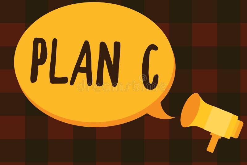 Plan C för textteckenvisning Det begreppsmässiga fotoet en är det reserv- strategi specificerade förslaget för att göra något stock illustrationer