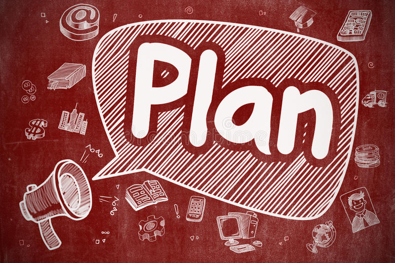 Plan - Cartoon Illustration on Red Chalkboard. Yelling Megaphone with Text Plan on Speech Bubble. Doodle Illustration. Business Concept. Plan on Speech Bubble stock illustration