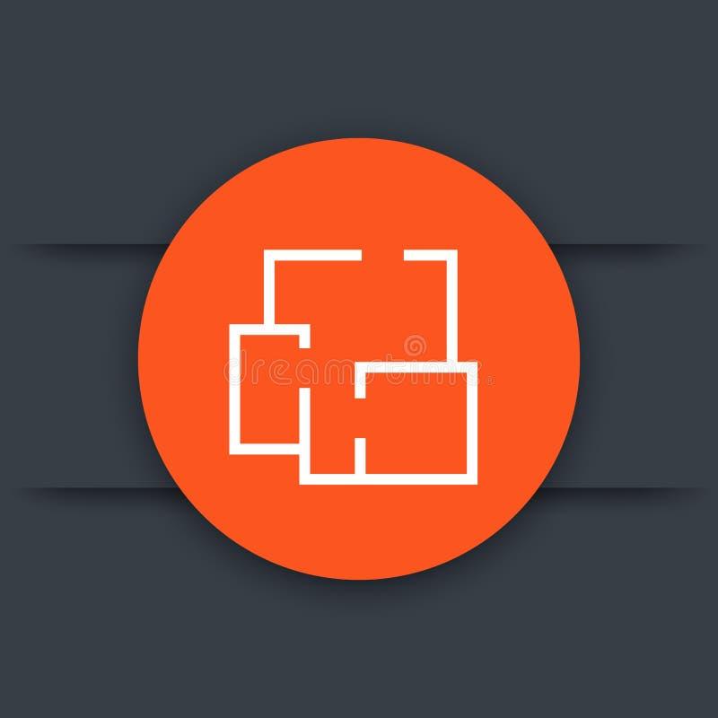Plan casero, icono del vector de la disposición del apartamento stock de ilustración