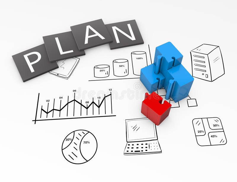 Plan chart. Business plan flow chart on the drawing vector illustration