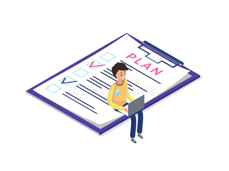 Plan on Clipboard Paper, Man with Laptop Working. On project vector. Thinking worker, programmer with personal computer planning, organizing work tasks royalty free illustration