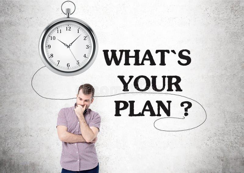 Plan clock man stock photos