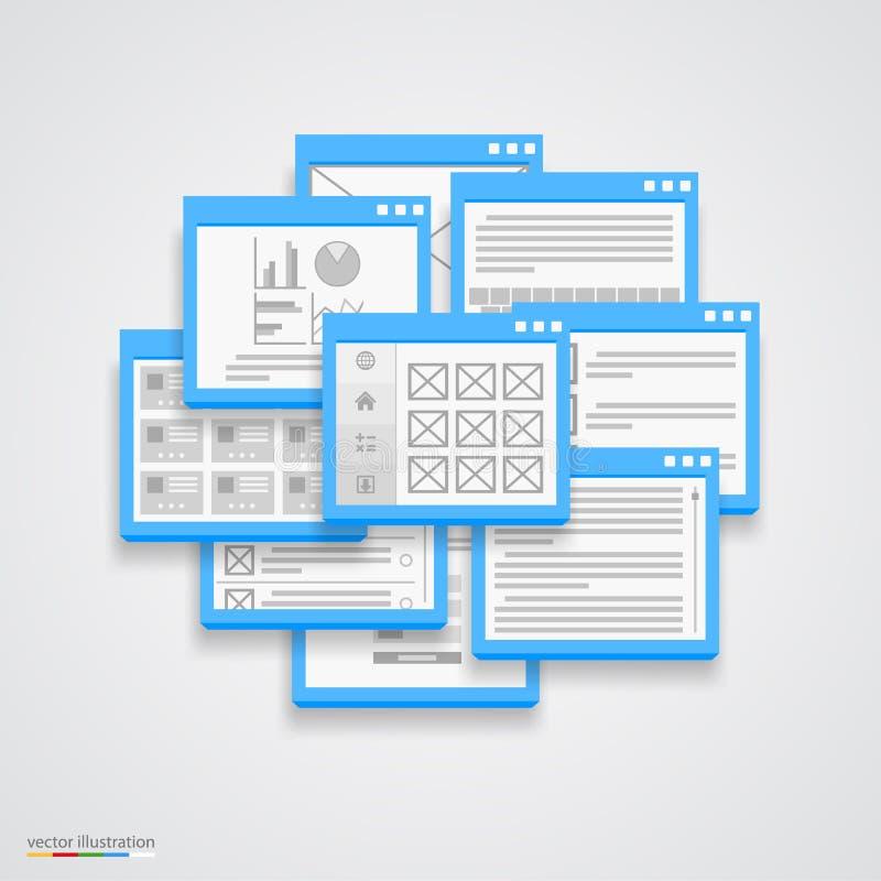 Plan collage för fönsterram royaltyfri illustrationer