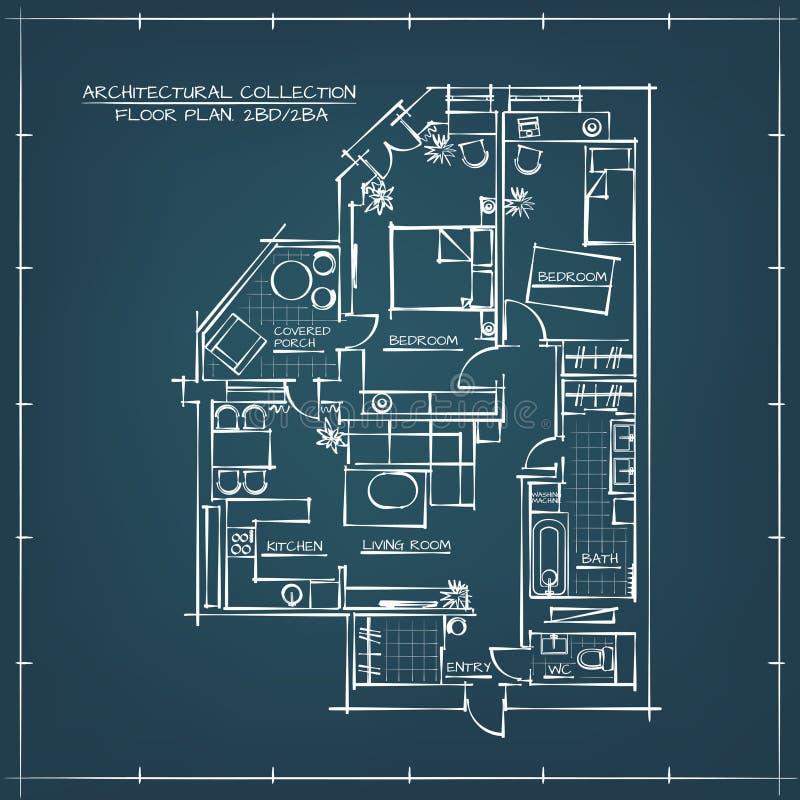 Plan d'étage architectural de modèle illustration stock
