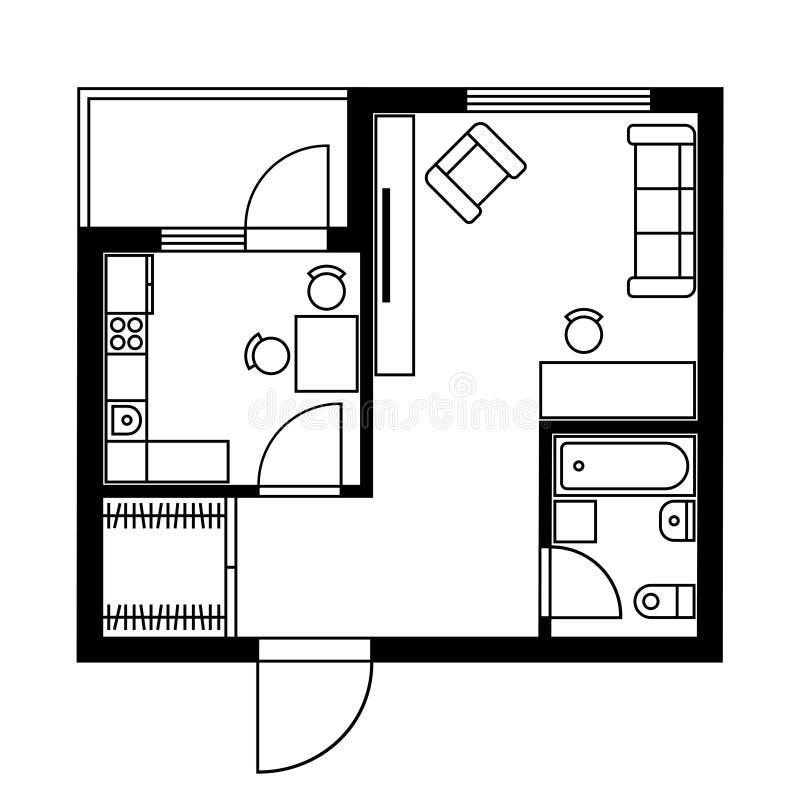 Plan d'étage d'une Chambre avec des meubles Vecteur illustration de vecteur