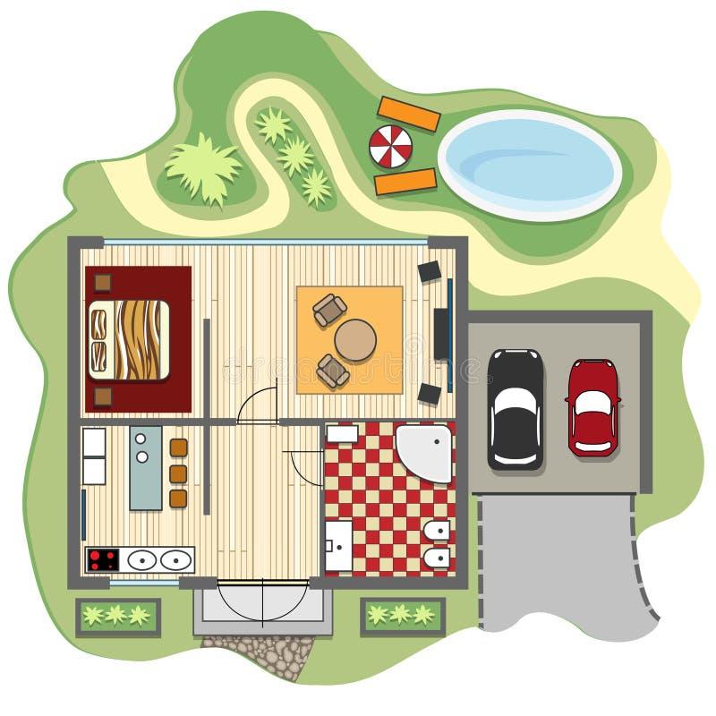 Plan d'étage de maison illustration stock