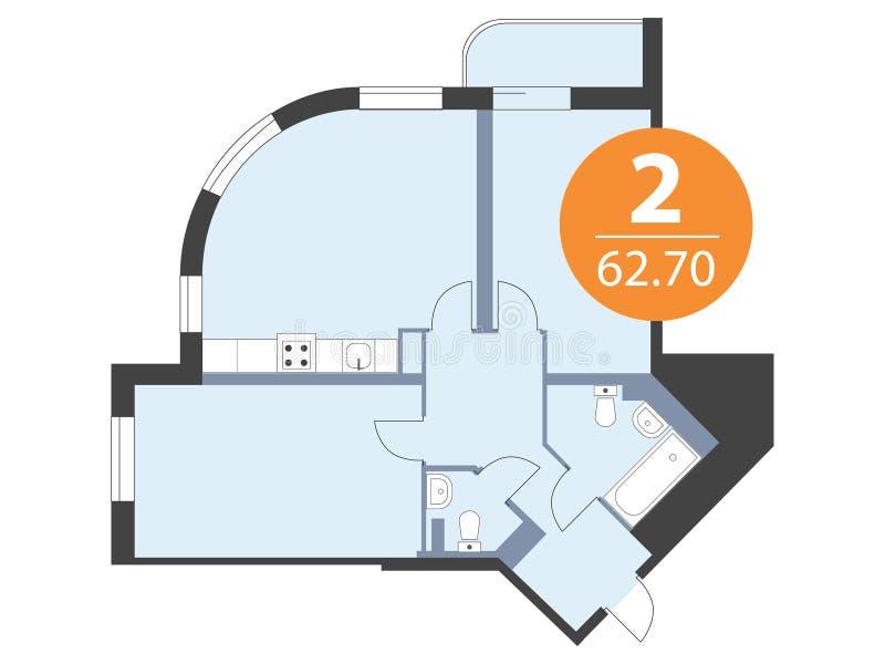 Plan d'étage de vue supérieure d'appartement Conception de modèle de Chambre illustration stock