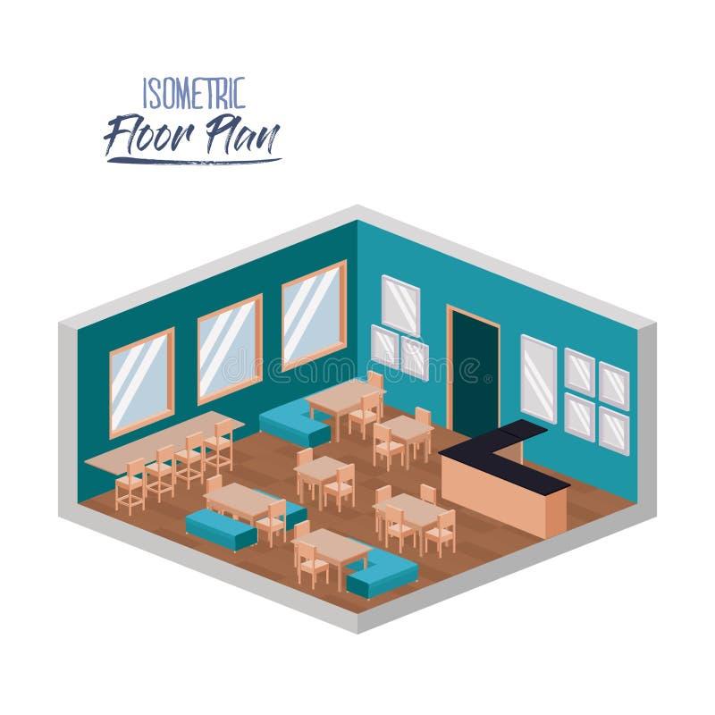 Plan d'étage isométrique de cantine scolaire en silhouette colorée illustration stock