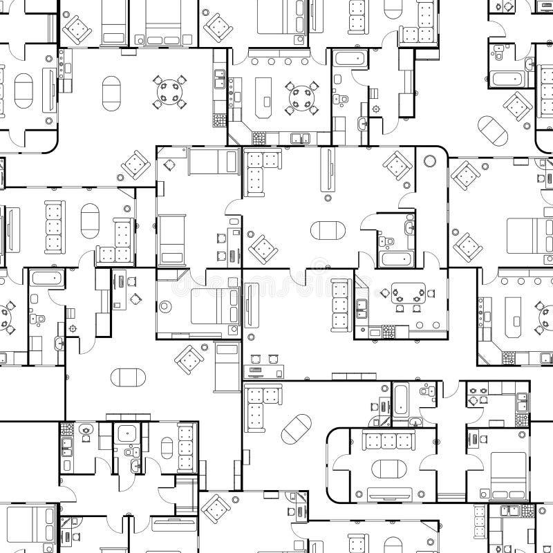 Plan d'étage noir et blanc de maison avec les détails intérieurs, modèle sans couture illustration de vecteur