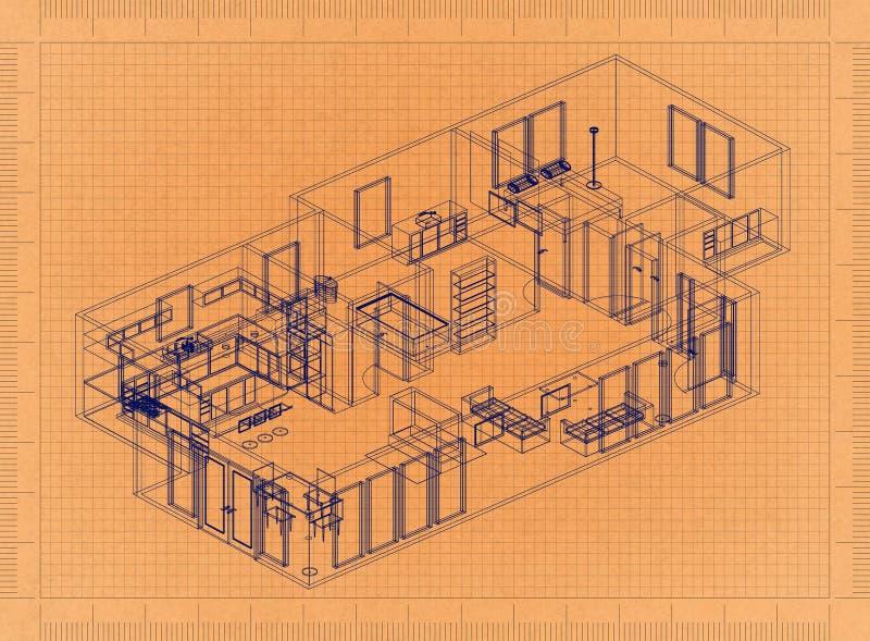 Plan d'étage - rétro modèle illustration de vecteur