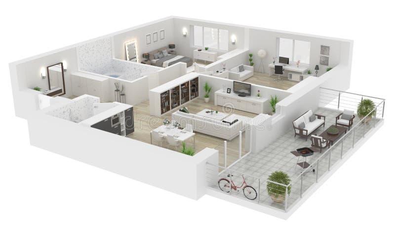 Plan d'étage d'une illustration de la vue 3D de maison illustration de vecteur