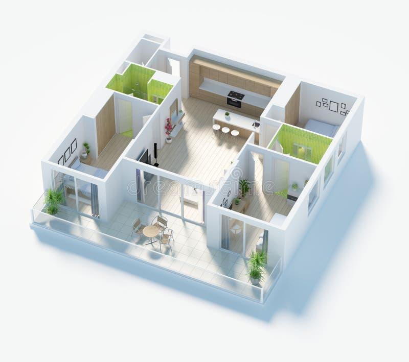 Plan d'étage d'une illustration de la vue supérieure 3D de maison Ouvrez la disposition vivante d'appartement de concept illustration stock