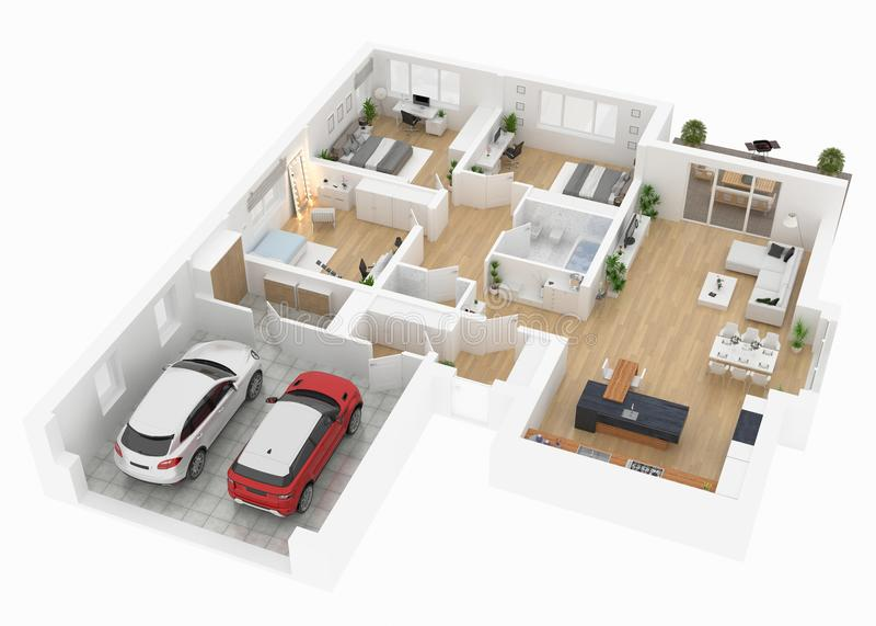 Plan d'étage d'une vue supérieure de maison Ouvrez la disposition vivante d'appartement de concept illustration libre de droits
