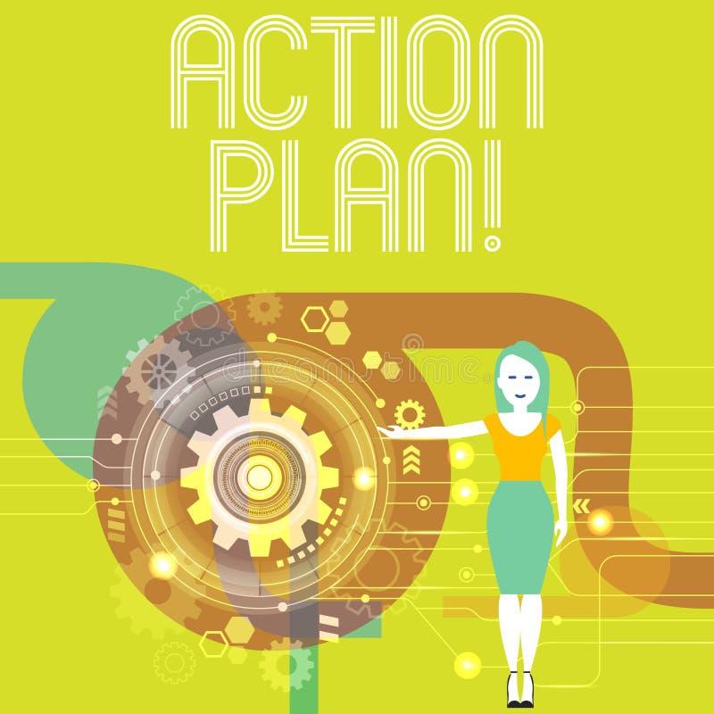 Plan d'action d'écriture des textes d'écriture Concept signifiant la stratégie ou la ligne de conduite proposée pour certaine fem illustration libre de droits