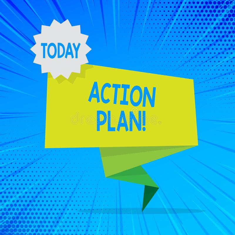 Plan d'action des textes d'écriture Concept signifiant la stratégie ou la ligne de conduite proposée pour certain vert d'espace v illustration stock
