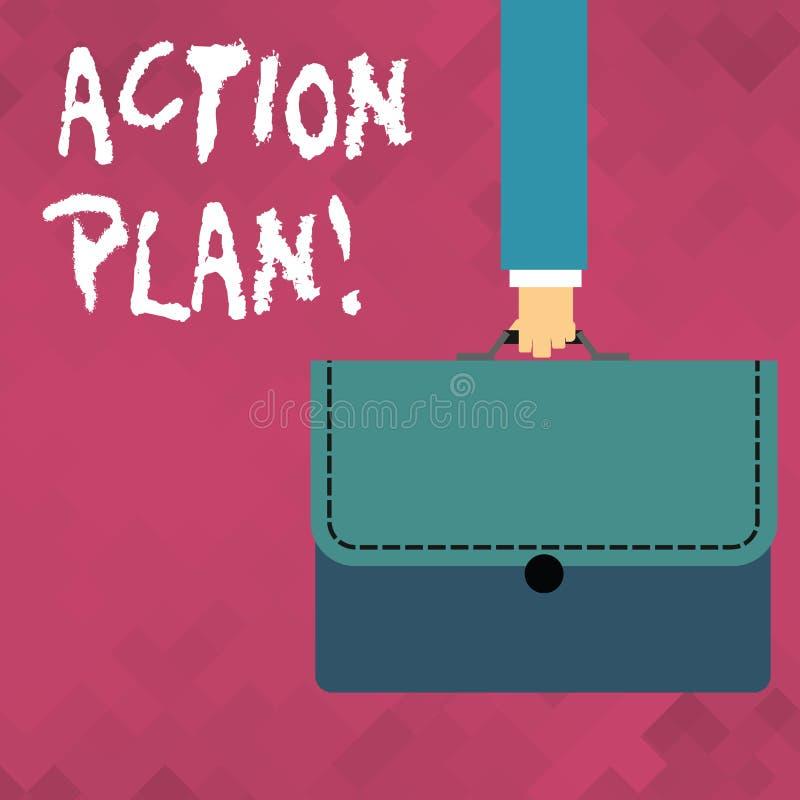 Plan d'action des textes d'?criture de Word Concept d'affaires pour la stratégie ou la ligne de conduite proposée pour certain ho illustration stock