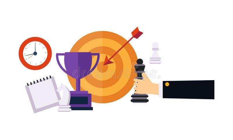 Plan d'action et stratégie, main d'homme d'affaires, échecs, horloge wal, tasse de gagnant, illustration de vecteur de cible sur  illustration stock