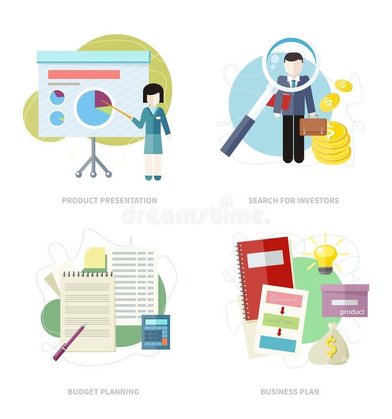 Plan d'action, planification de budget, investisseurs de recherche illustration libre de droits