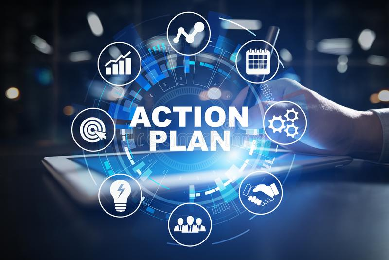 Plan d'action, stratégie commerciale, concept de gestion du temps sur l'écran virtuel image libre de droits