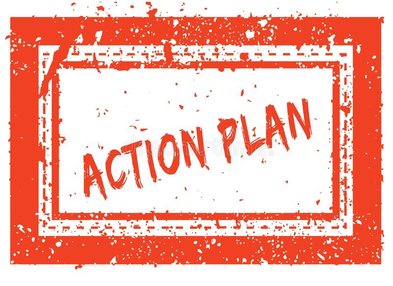 PLAN D'ACTION sur le tampon en caoutchouc carré orange de cadre avec la texture grunge illustration libre de droits