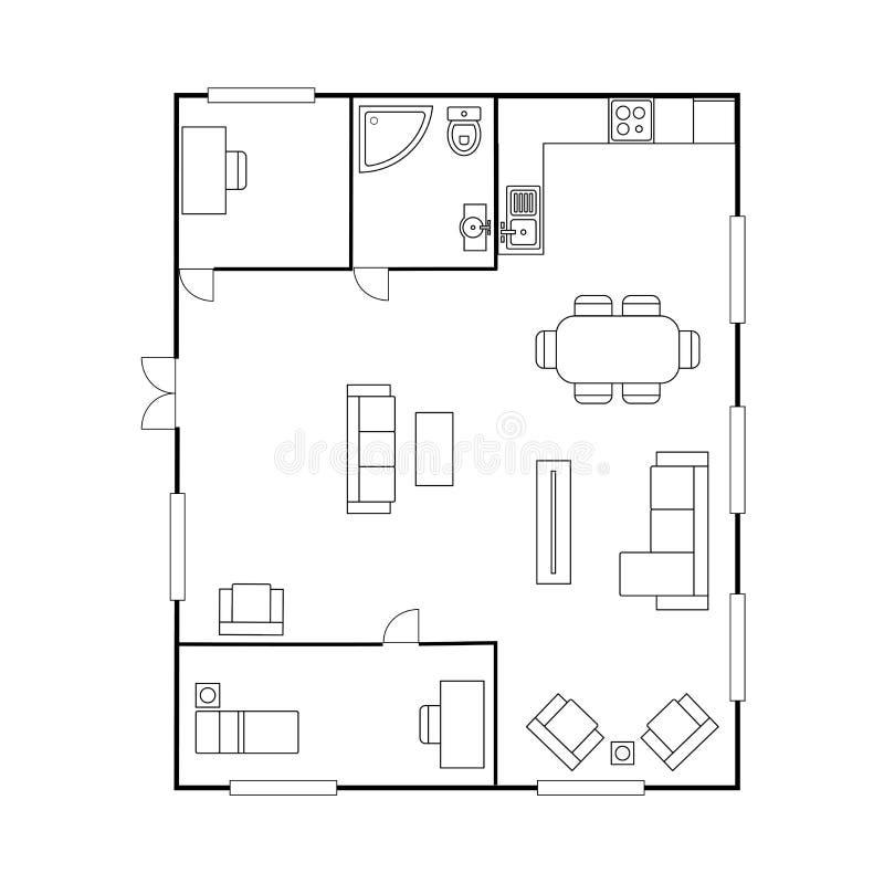 Plan d'architecture avec des meubles Plan d'étage de Chambre, illustration stock