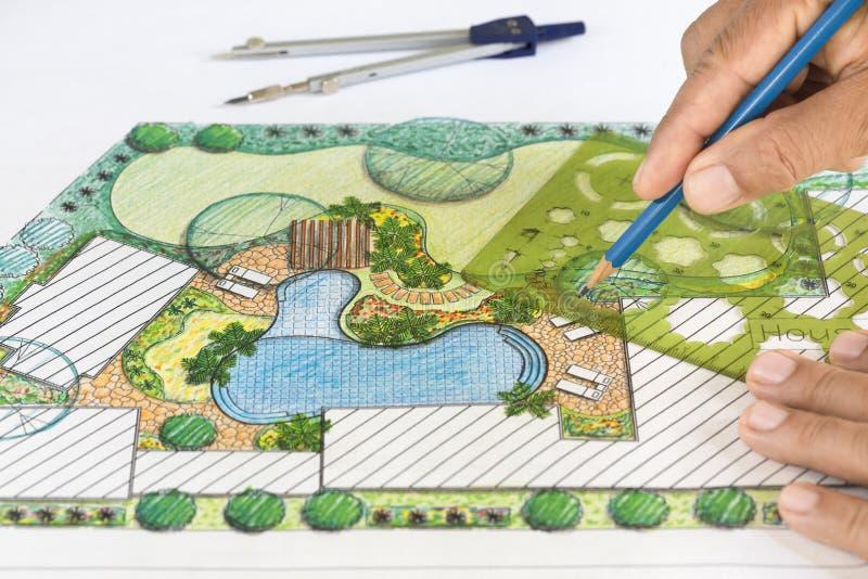 Plan d'arrière-cour de conception d'architecte paysagiste photographie stock