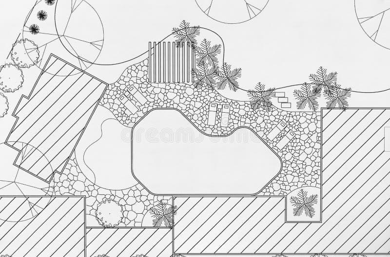 Plan d'arrière-cour de conception d'architecte paysagiste photographie stock libre de droits