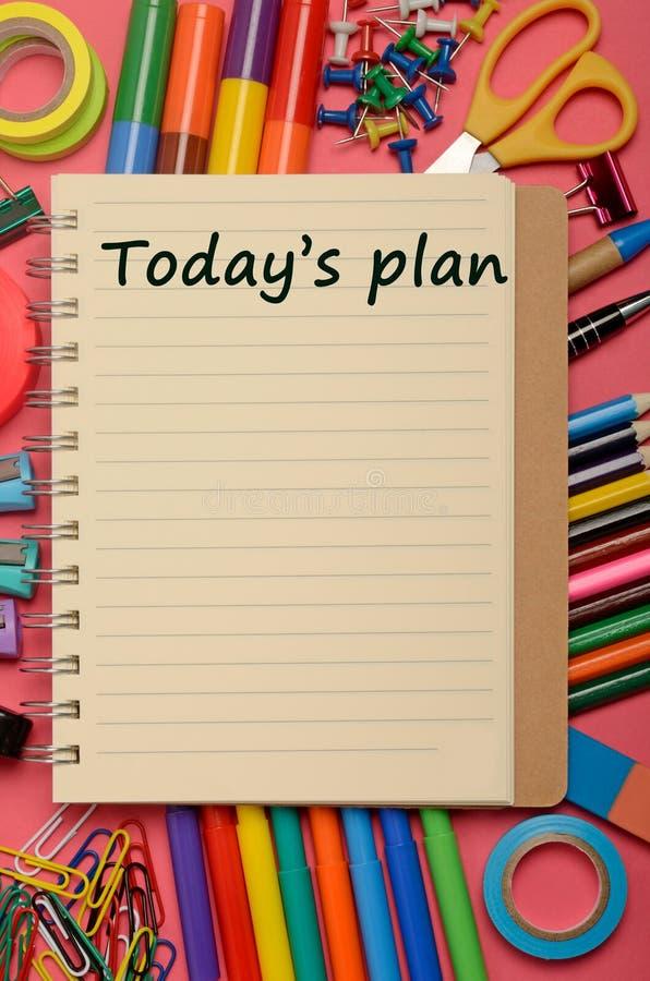 Plan d'aujourd'hui sur le carnet photographie stock